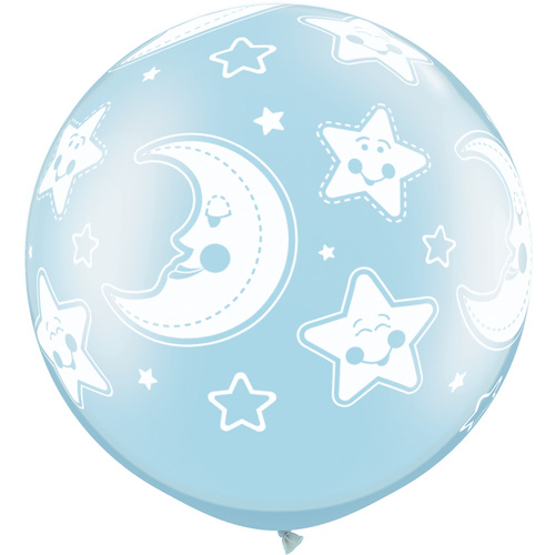 90cm Round Pearl Light Blue Baby Moon & Stars-A-Round #32122 - Pack of 2 SPECIAL ORDER ITEM