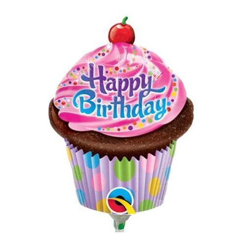 Mini Shape Birthday Frosted Cupcake Foil Balloon 35cm #32935AF - Each (Inflated, supplied air-filled on stick)
