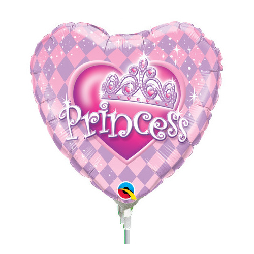22cm Princess Tiara Heart Foil Balloon #32943AF - Each (Inflated, supplied air-filled on stick)