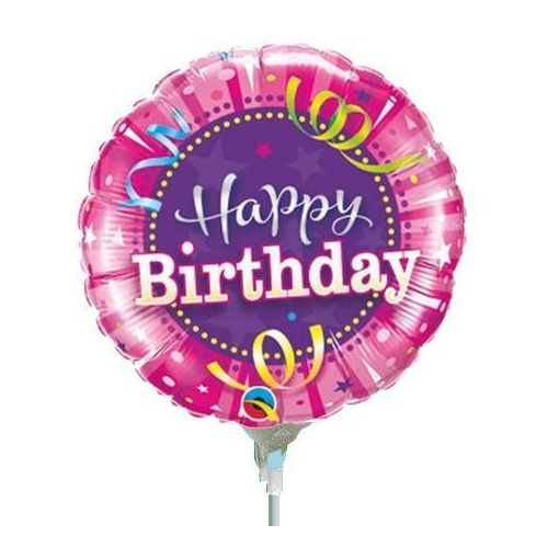 22cm Birthday Hot Pink Foil Balloon #32953AF - Each (Inflated, supplied air-filled on stick)