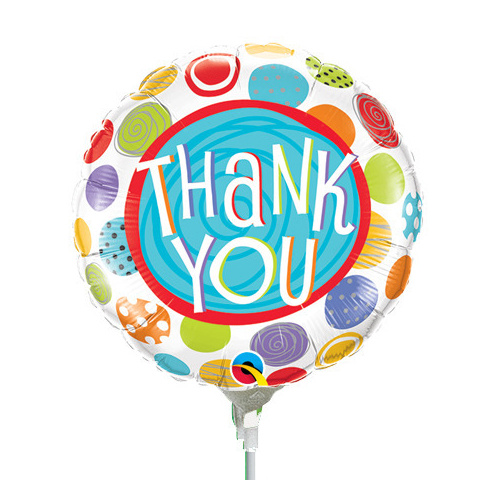22cm Thank You Patterned Dots Foil Balloon #33318AF - Each (Inflated, supplied air-filled on stick)
