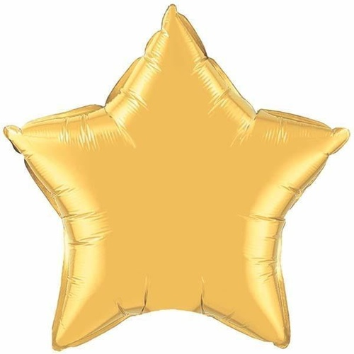 10cm Star Metallic Gold Plain Foil Balloon #35983 - Each (Unpackaged, Requires air inflation, heat sealing) TEMPORARILY UNAVAILABLE