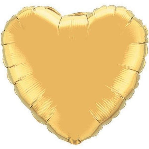 22cm Heart Metallic Gold Plain Foil Balloon #36334AF - Each (Inflated, supplied air-filled on stick)