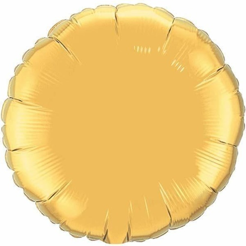 22cm Round Metallic Gold Plain Foil Balloon #36335AF - Each (Inflated, supplied air-filled on stick)