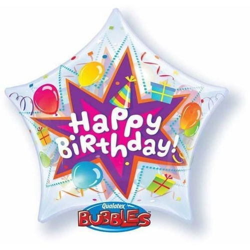 56cm Star Single Bubble Birthday Party Blassorted #36765 - Each LAST STOCK - DISCONTINUED