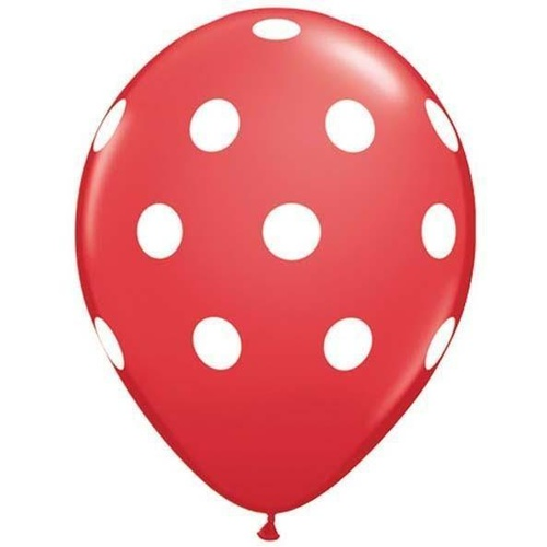 28cm Round Red Big Polka Dots (White) #3720825 - Pack of 25