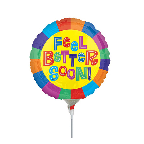 10cm Feel Better Soon Foil Balloon #4030882AF - Each (Inflated, supplied air-filled on stick)