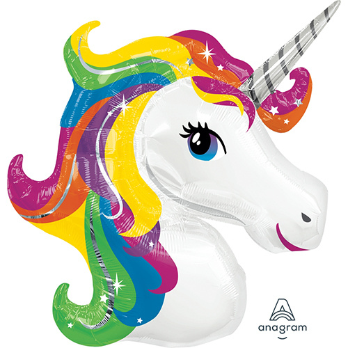 Shape Unicorn Rainbow Foil Balloon 83cm #4031299 - Each (Pkgd.)