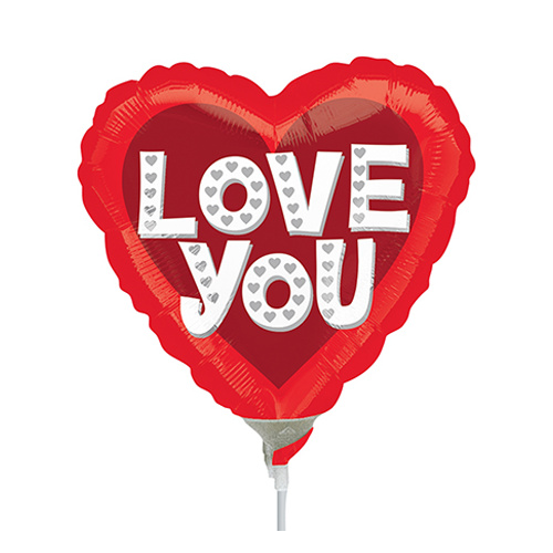 22cm Love You Silver Hearts Foil Balloon #4031874AF - Each (Inflated, supplied air-filled on stick)