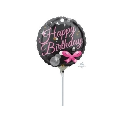 10cm Happy Birthday Bubbles Foil Balloon #4033357 - Each (Inflated, supplied air-filled on stick)