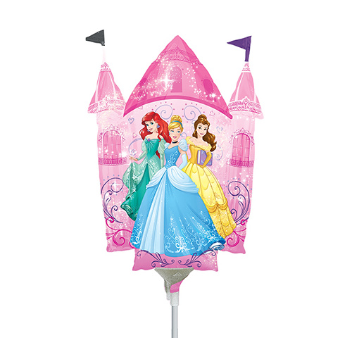 Mini Shape Licensed Disney Princess Castle Dream Big Foil Balloon #4033934AF - Each (Inflated, supplied air-filled on stick)