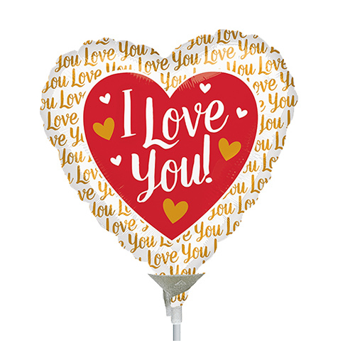 22cm Love You Gold Foil Balloon #4036461AF - Each  (Inflated, supplied air-filled on stick)