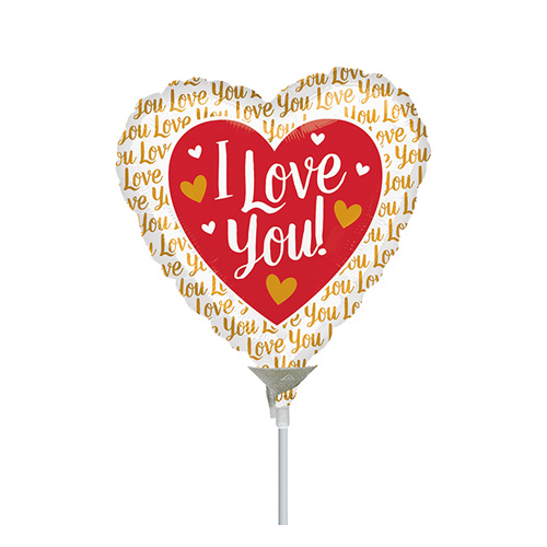 10cm Love You Gold Foil Balloon #4036466AF - Each  (Inflated, supplied air-filled on stick)