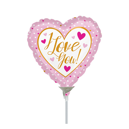 10cm Love You Gold & Pink Foil Balloon #4036468AF - Each  (Inflated, supplied air-filled on stick)