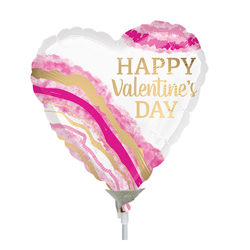 22cm Valentine's Day Watercolour Geode Foil Balloon #4038793AF - Each  (Inflated, supplied air-filled on stick)