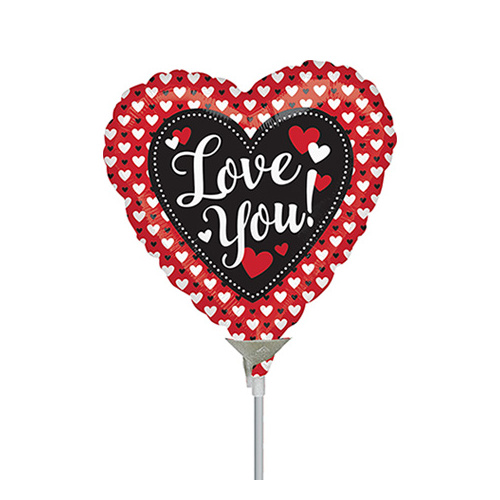 10cm Love Heart to Heart Foil Balloon #4038813AF - Each (Inflated, supplied air-filled on stick)