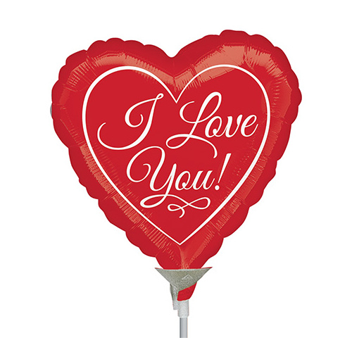 22cm Love You Traditional Script Foil Balloon #4038937AF - Each (Inflated, supplied air-filled on stick)