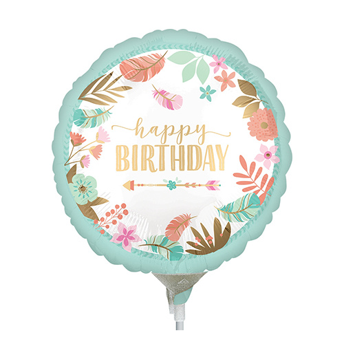 22cm Birthday Boho Girl Foil Balloon #4039070AF - Each (Inflated, supplied air-filled on stick)