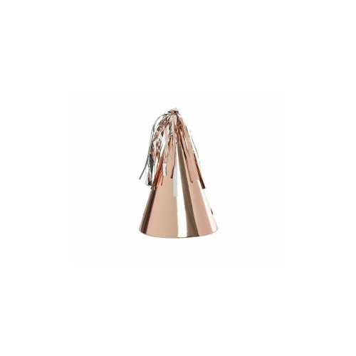 Paper Party Hat with Tassel Topper Metallic Rose Gold #406150MRGP - 10Pk (Pkgd.)