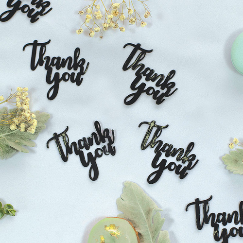 Paper Party Confetti Jumbo THANK YOU Black 6.5cm #410083 - 15pk