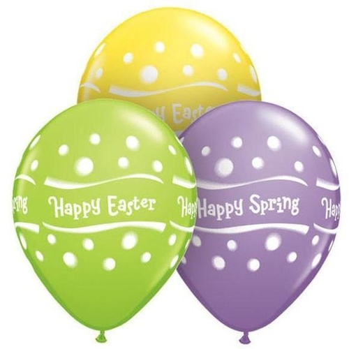 28cm Round Special Assorted Happy Spring Easter Assorted Dots #41417 - Pack of 50