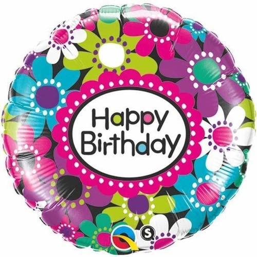 45cm Round Foil Birthday Daisy Patterns #41619 - Each (Pkgd.)