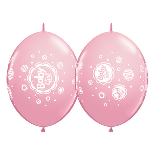 30cm Quick Link Pink Baby Girl Dots #42702 - Pack Of 50 SPECIAL ORDER ITEM