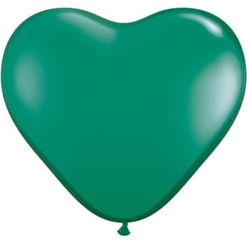 15cm Heart Emerald Green Qualatex Plain Latex #43636 - Pack of 100 SPECIAL ORDER ITEM