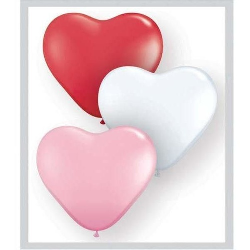 28cm Heart Sweetheart Assorted Qualatex Plain Latex #43729 - Pack of 100