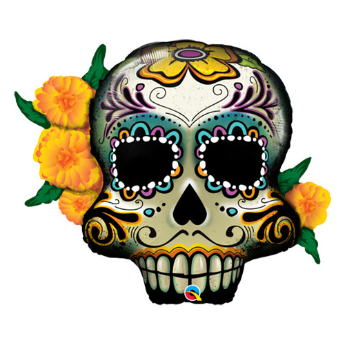 95cm Shape Foil Day of the Dead Skull SW #44228 - Each (Pkgd.)