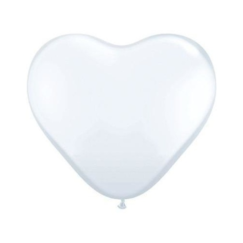 90cm Heart White Qualatex Plain Latex #44481 - Pack of 2 SPECIAL ORDER ITEM