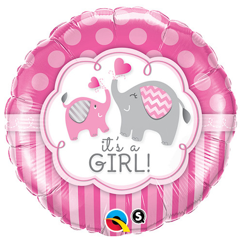 45cm Round Foil It's a Girl Elephants  #45106 - Each (Pkgd.)TEMPORARILY UNAVAILABLE