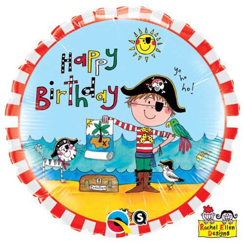 45cm Round Foil Rachel Ellen Birthday Pirate #47671 - Each (Pkgd.)