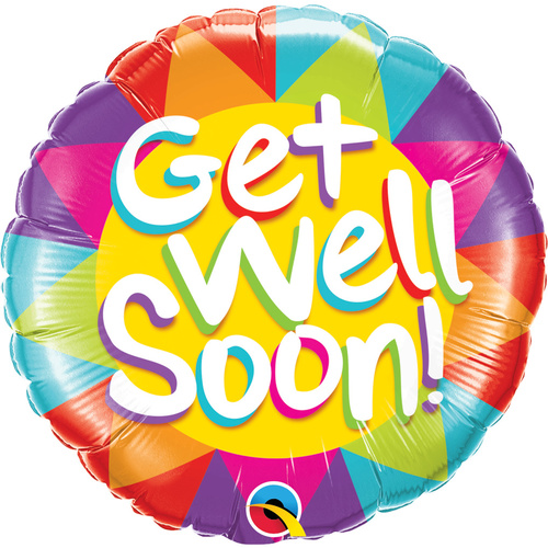 45cm Round Foil Get Well Soon Sunshine #49206 - Each (Pkgd.)  TEMPORARILY UNAVAILABLE