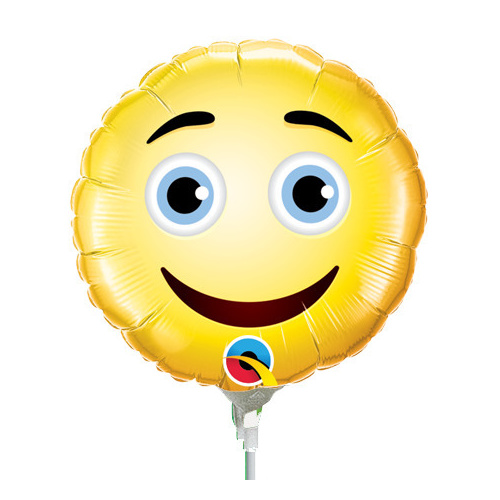 22cm Smiley Face Foil Balloon #49411AF - Each (Inflated, supplied air-filled on stick) TEMPORARILY UNAVAILABLE