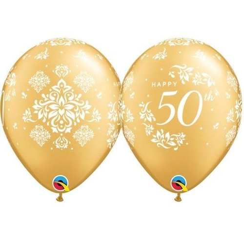 28cm Round Gold 50th Anniversary Damask #49690 - Pack of 50