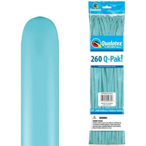 260Q Q-Pak Caribbean Blue Qualatex Plain Latex #54670 - Pack of 50