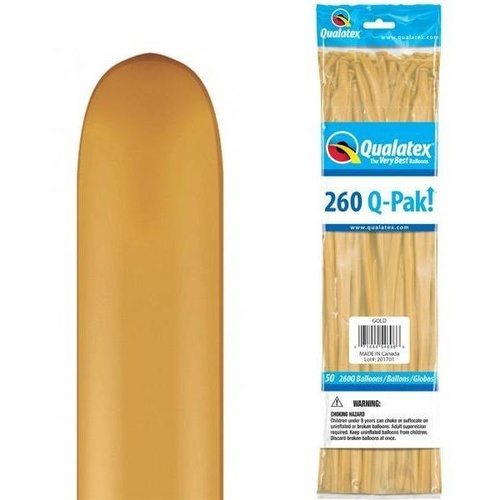 260Q Q-Pak Gold Qualatex Plain Latex #54696 - Pack of 50