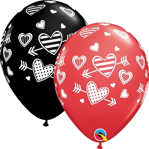 28cm Round Assorted Red & Onyx Black Patterned Hearts and Arrows #5524725 - Pack of 25