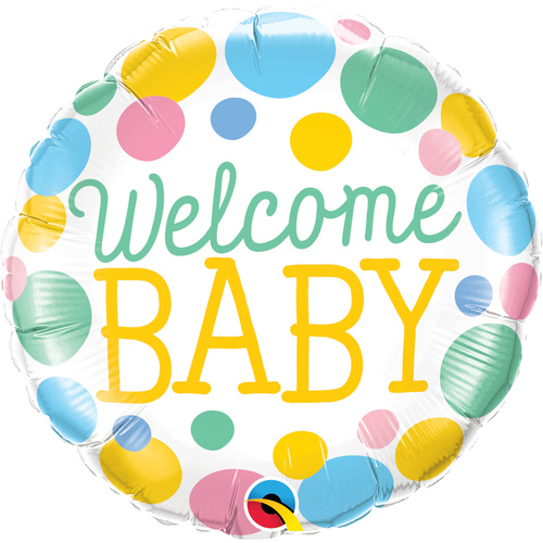 45cm Round Foil Welcome Baby Dots #55391 - Each (Pkgd.)