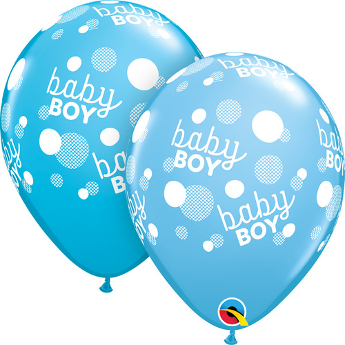 28cm Round Pale Blue & Robin's Egg Baby Boy Blue Dots-A-Round #55890 - Pack of 50