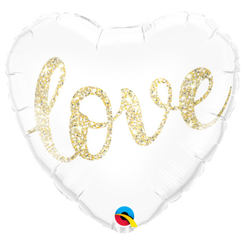 45cm Heart Foil Love Glitter Gold #57322 - Each (Pkgd.)