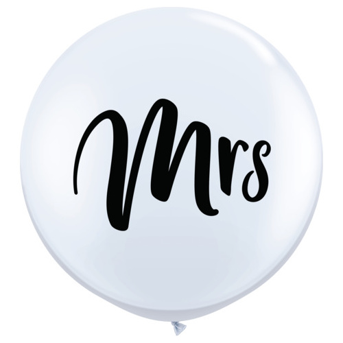 90cm Round Mrs Wedding White Latex #57438 - Pack of 2 NOW IN STOCK