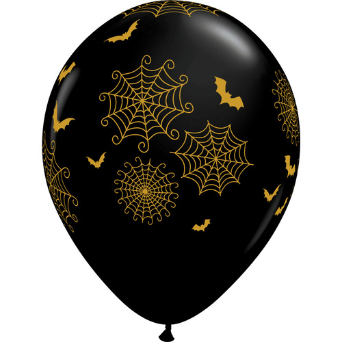 28cm Round Onyx Black Spider-Webs and Bats #5826825 - Pack of 25