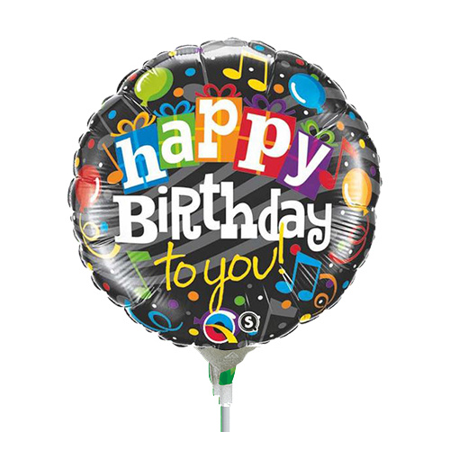 22cm Birthday Happy Birthday To You Foil Balloon #58403AF - Each (Inflated, supplied air-filled on stick)