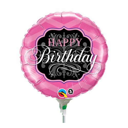 22cm Birthday Pink & Black Foil Balloon #58420AF - Each (Inflated, supplied air-filled on stick)