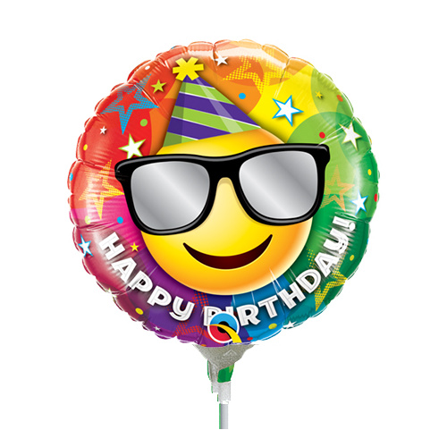 22cm Birthday Smiley Foil Balloon #58422AF - Each (Inflated, supplied air-filled on stick)