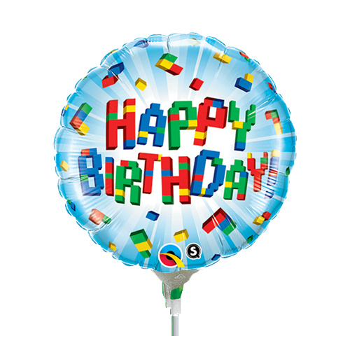 22cm Birthday Exploding Blocks Foil Balloon #58431AF - Each (Inflated, supplied air-filled on stick)