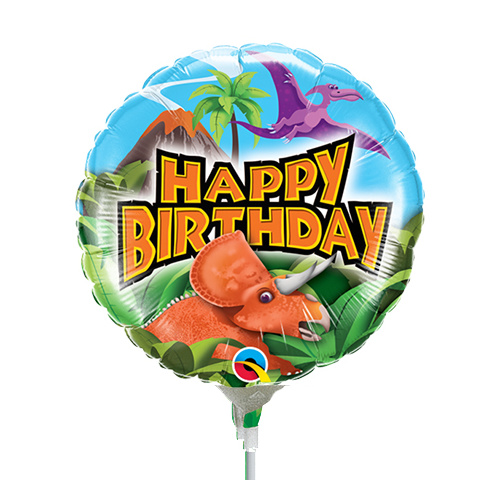 22cm Birthday Dinosaurs Holographic  Foil Balloon #58448AF - Each (Inflated, supplied air-filled on stick)
