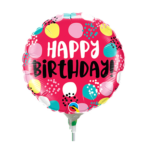 22cm Birthday Dots Red Foil Balloon #58450AF - Each (Inflated, supplied air-filled on stick)